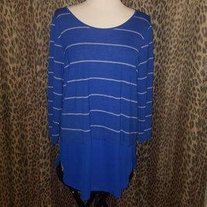 Blue and white striped quarter sleeve #2